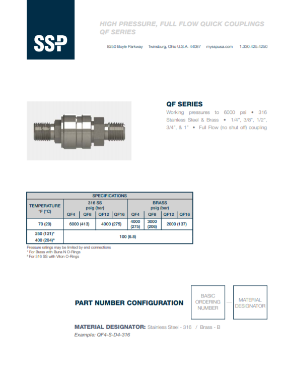 QF Series Quick Connects Catalog